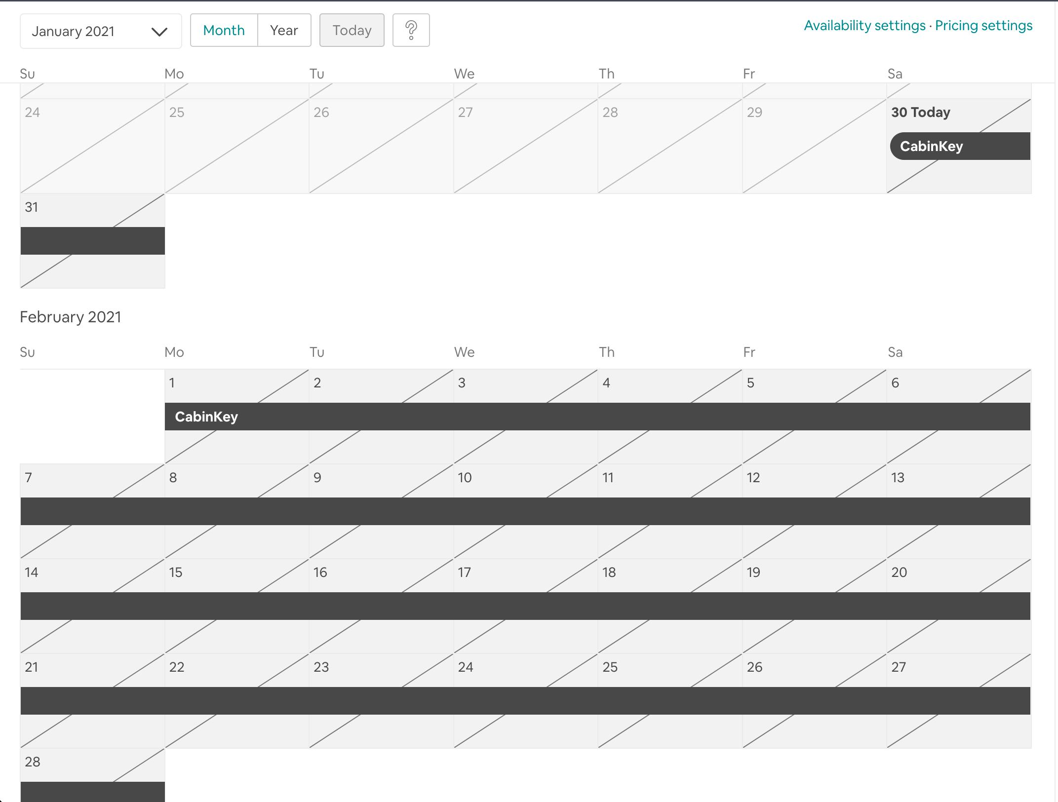 Airbnb Calendar View